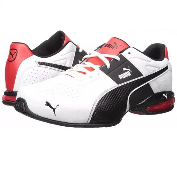 bb46f39e1f7f Puma Mens Cell Surin 2 FM White Red Running Shoes
